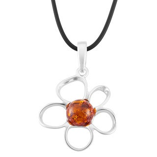 Sterling Silver Large Amber Flower Pendant Necklace (Poland)