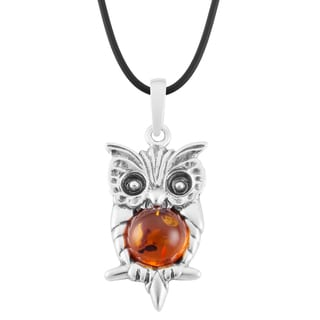 Sterling Silver Large Amber Owl Pendant Necklace (Poland)