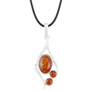 Sterling Silver Amber Geometric Necklace (Poland)