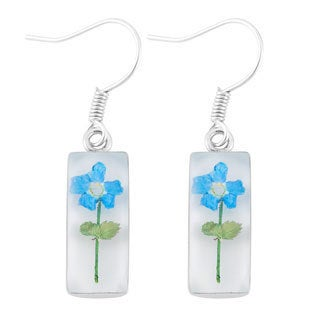 Silverplated Blue 'Forget Me Not' Flower White Dangle Earrings (Mexico)
