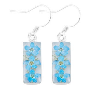 Silverplated Blue 'Forget Me Not Flowers' White Dangle Earrings (Mexico)