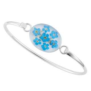 Silverplated Real 'Forget Me Not Flowers' Bangle Bracelet (Mexico)