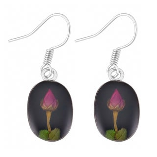 Silverplated Real Red Roses Oval Black Dangle Earrings (Mexico)