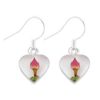 Silverplated Real Red Roses White Heart Earrings (Mexico)