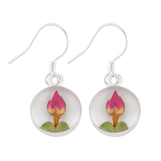Silverplated Real Red Roses Round White Earrings (Mexico)