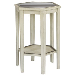 Hand Painted Distressed Antique Ivory Finish Mirrored Accent Table