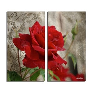 Alexis Bueno 'Roses are Red II' 2-piece Canvas Wall Art