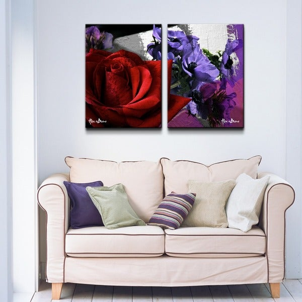 Alexis Bueno 'Roses are Red, Violets are Blue III' 2-piece Canvas Wall Art