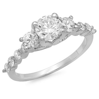 14K White Gold 1.5ct TDW Round Diamond Three Stone Bridal Set (H-I, I1-I2)