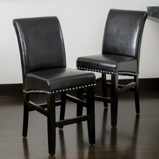 Christopher Knight Home Lisette Leather Counter Stool (Set of 2)