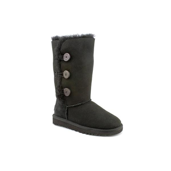 Ugg Australia Girl (Youth) 'Bailey Button Triplet' Black Regular Suede Boots