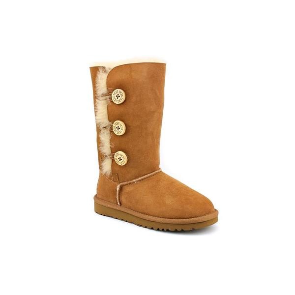 Ugg Australia Girl (Youth) 'Bailey Button Triplet' Light Brown Regular Suede Boots