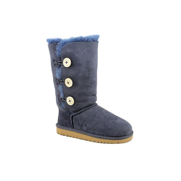Ugg Australia Girl (Youth) 'Bailey Button Triplet' Blue Regular Suede Boots
