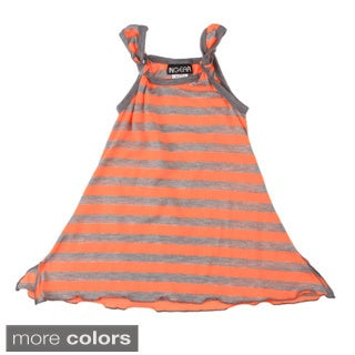 Girls Striped Sleevless Knotted Dress