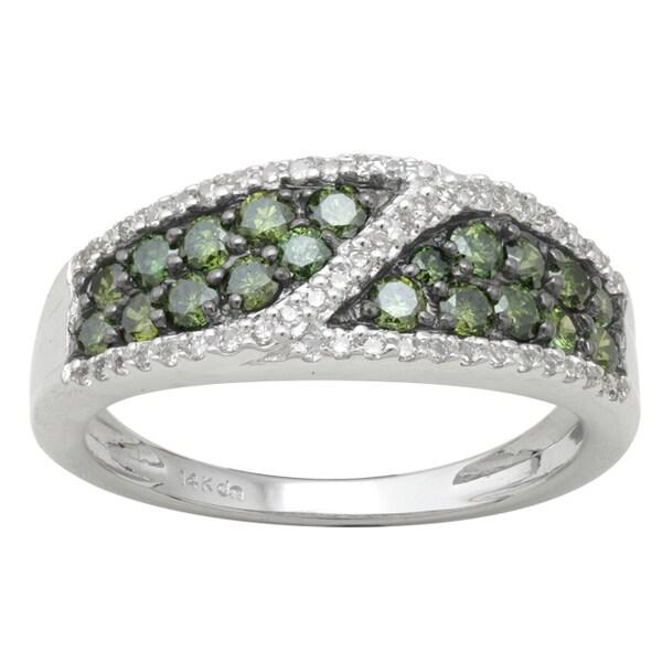 10k White Gold 8/10ct TDW Green and White Diamond Ring (H-I, I-3)
