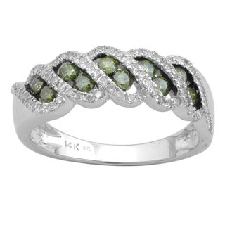 10k White Gold 3/4ct TDW Green and White Diamond Fashion Band (H-I, I-3)