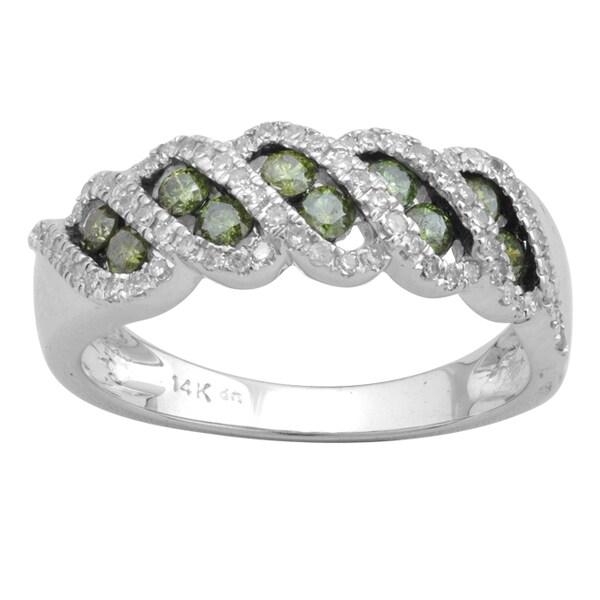 10k White Gold 3/4ct TDW Green and White Diamond Fashion Band (H-I, I-3)