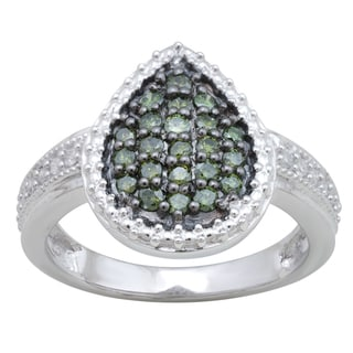 10k White Gold 1/2ct TDW Green and White Diamond Ring (H-I, I-3)
