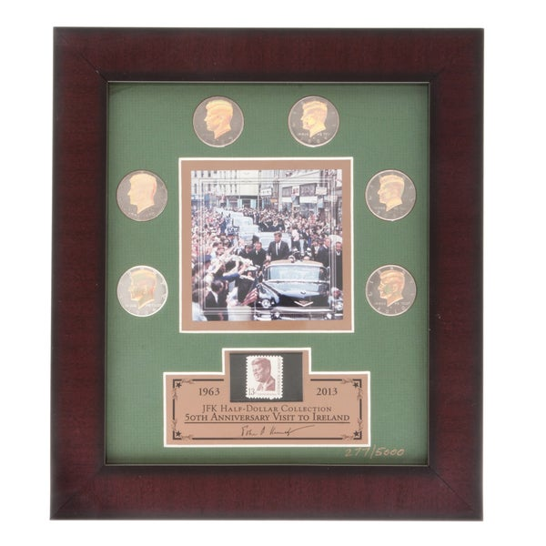 Franklin Mint JFK Half-dollar Coins with Framed Lithograph Print
