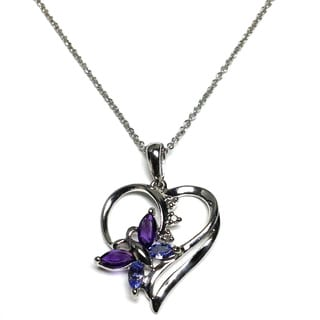 Soho Boutique by Neda Behnam 14k White Gold Multi-gemstone Diamond Accent Butterfly Heart Pendant Necklace