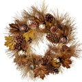 Ball Ornament 24-inch Pine Cone and Leaves Wreath