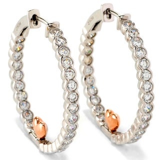 Platinum and Rose Gold Plated Sterling Silver Cubic Zirconia Heart Hoop Earrings