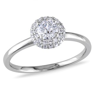 Miadora 14k White Gold 1/2ct TDW Round Halo Diamond Ring (G-H, I1-I2)