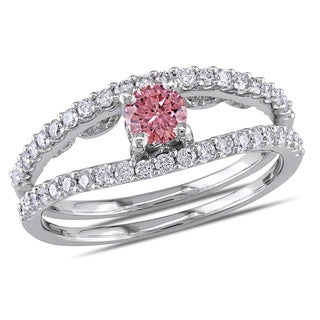 Miadora 14k White Gold 3/4ct TDW Pink and White Diamond Ring (I1-I2)