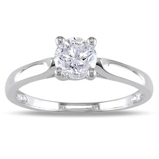 Miadora 14k White Gold 3/4ct TDW Round Diamond Solitaire Ring (I-J, I1-I2)