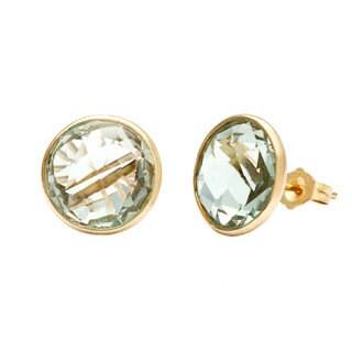 14k Yellow Gold Briolette Green Amethyst Earrings
