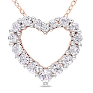 Miadora Roseplated Silver Created White Sapphire Heart Necklace