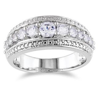 Miadora Sterling Silver 1ct TGW Created White Sapphire Fashion Ring