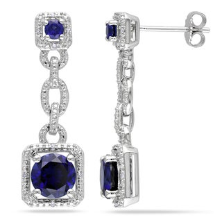 Miadora Sterling Silver Created Blue Sapphire and Diamond Dangle Earrings