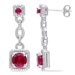 Miadora Sterling Silver Created Ruby and Diamond Accent Dangle Earrings