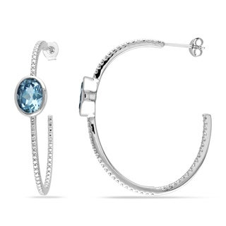 Miadora Sterling Silver 5ct TGW Blue Topaz Hoop Earrings