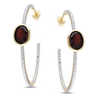 Miadora Yellowplated Silver 4ct TGW Garnet Hoop Earrings
