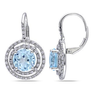 Miadora 10k White Gold Blue Topaz and 3/8ct TDW Diamond Earrings (H-I, I2-I3)