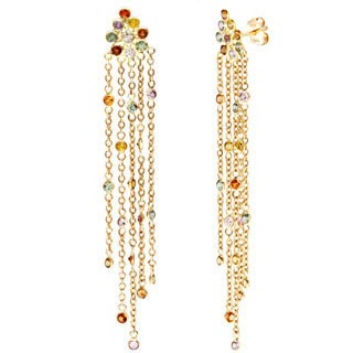14k Yellow Gold Multi-color Sapphire Dangle Earrings