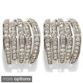 Sonia Bitton Platinum or Goldplated Sterling Silver Cubic Zirconia Omega Cuff Earrings