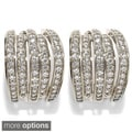 Platinum or Gold Plated Sterling Silver Cubic Zirconia Omega Cuff Earrings