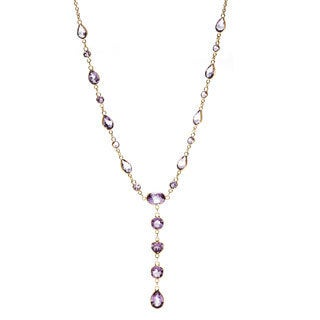 14k Yellow Gold Dark Amethyst Necklace