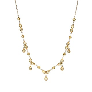 14k Yellow Gold Round/ Pear Citrine Necklace
