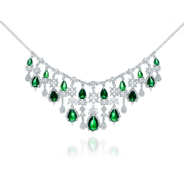 Blue Box Jewels Rhodium Plated Silver Tiara Style Emerald Necklace