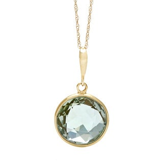 14k Yellow Gold Green Amethyst Briolette Pendant Necklace