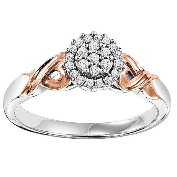 Cambridge 10k Rose Gold/ Silver 1/6ct TDW Diamond Heart Infinity Ring