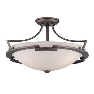 Parkston 3-light Powder Grey Semi-Flush Mount