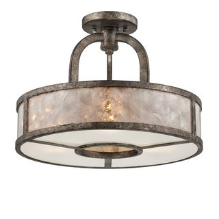 Quoizel 3-light Mottled Silver Semi-Flush Mount