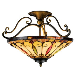 Tiffany-Style 3-light Imperial Bronze Semi-Flush Mount