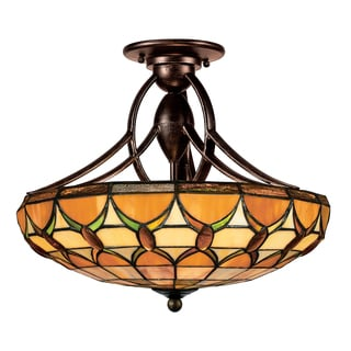 Tiffany-Style 2-light Espresso Semi-Flush Mount