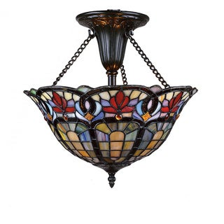Tiffany-Style 2-light Vintage Bronze Semi-Flush Mount